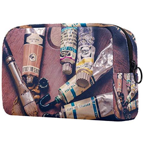 ATOMO Bolsa de maquillaje, bolsa de viaje cosmética grande bolsa de aseo organizador de maquillaje para mujeres, pigmento de pintura