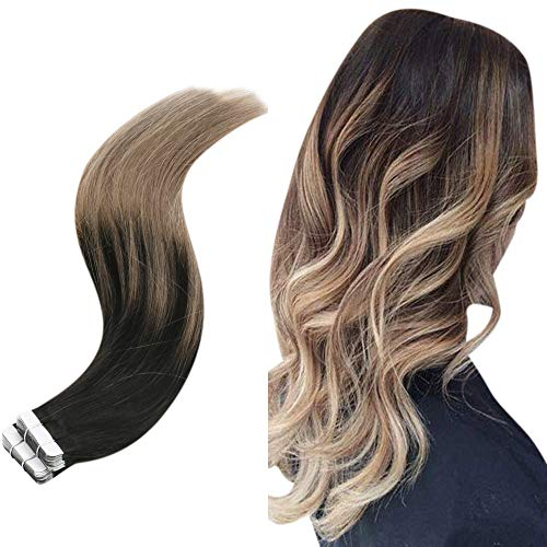 Easyouth Tape Extension Ombre 1b/18 Off Black Fading to Ash Blonde Farbe 16zoll Balayage Tape in Extensions 40g Echthaar Tape on Extensions