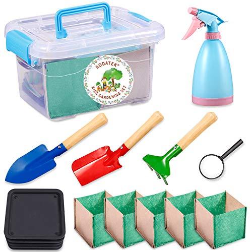 KODATEK 16Pieces Kids Gardening Set, for Real Planting Or Sand Gardening Contain: Sprayer Shovel Spade Rake Magnifier Tray Planting Bag, Gardening Tool Suitcase Little Gardener Tool, Amazing Gift
