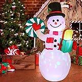 Younoo - Figura hinchable de Navidad de muñeco de nieve de 1,5 m – El muñeco de nieve hinchable de Navidad con luces