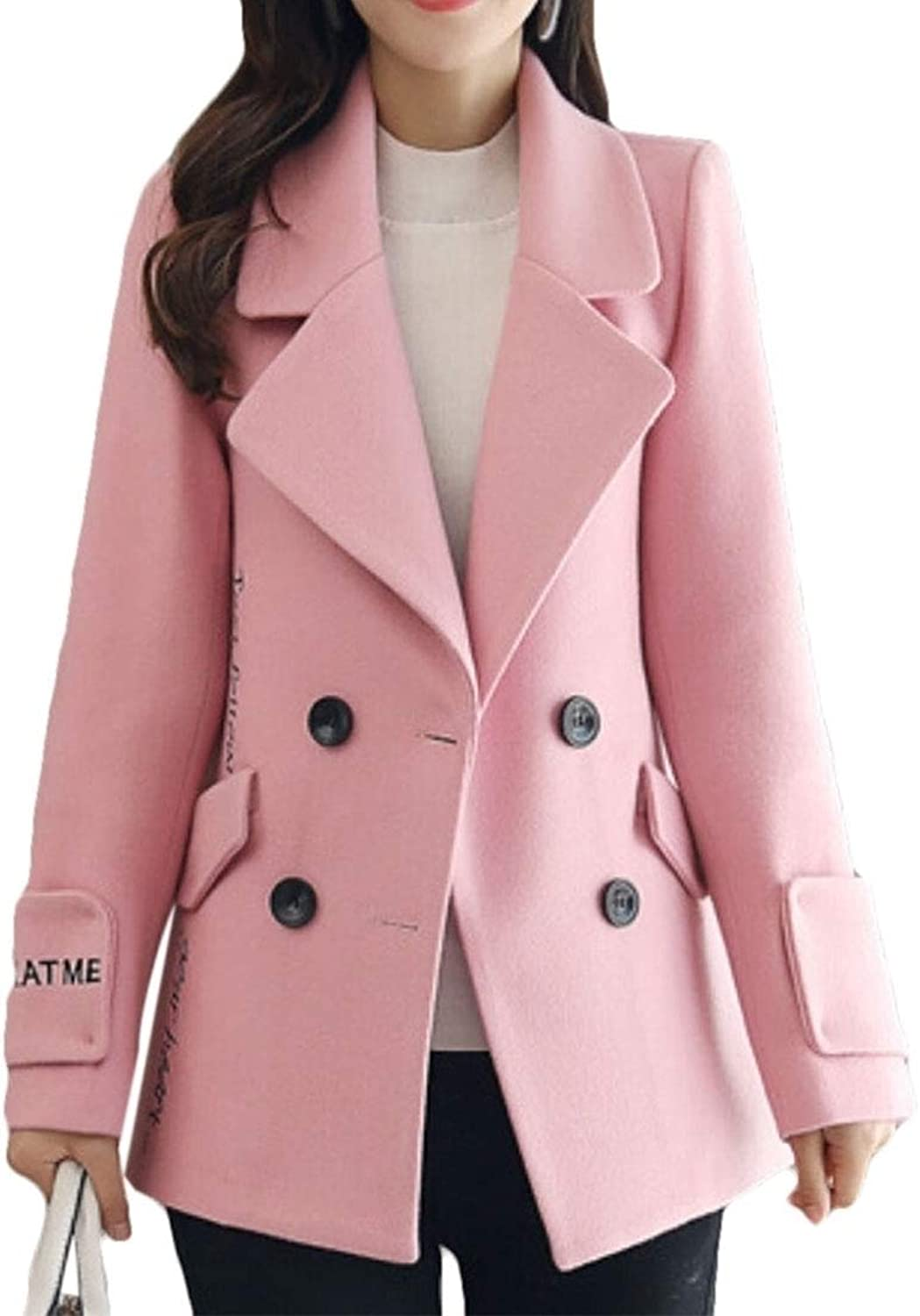 Maweisong Women's DoubleBreasted Wool Pea Coat Lapel Trench Coats Outwears