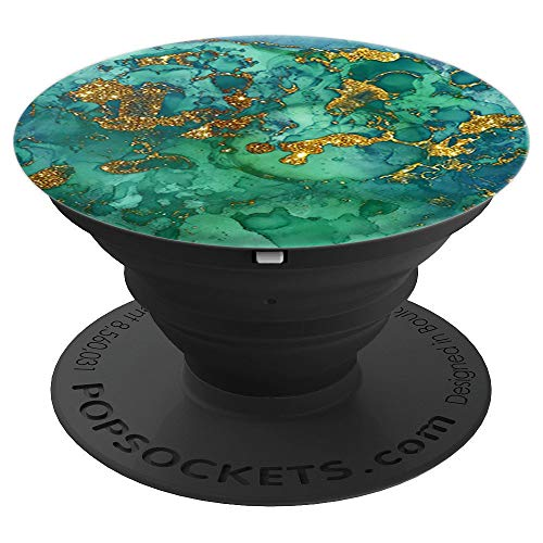 Phone Holder Watercolor Green Ink Green Marble PopSockets Grip and Stand for Phones and Tablets
