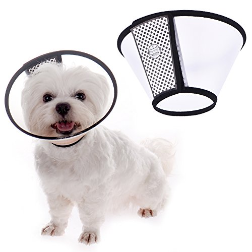 TJW Cono para Mascotas, E-Collar Protectora Cuello,Collarín para Perros,Collar Compatible con Mascotas,Color Blanco con Negro (S: Circunferencia del Cuello 13-15cm)