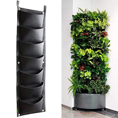 seasaleshop Wand Montiert Hängende Vertikal Bepflanzung Taschen Grün Wachsen Pflanzer mit 4/7 Taschen für Haus Wand Balkon Garten Versorgung Schwarz