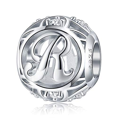 FOREVER QUEEN Letter Charm Initial A-Z Alphabet Charm Dangle Charm for Bracelet Necklace, 925 Sterling Silver CZ Beads Charm Personalized Jewelry Gift for Men Women Girls Birthday Valentine's Day (R)