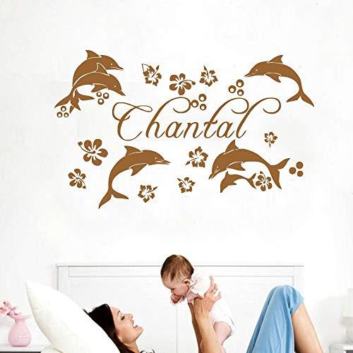 Fotobehang dolfijn aangepaste naam gepersonaliseerde kinderkamer ontwerp verwijderbare meisje slaapkamer DIY muursticker 63x102cm