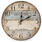 Reloj de pared redondo de madera de 12 pulgadas con diseño vintage silencioso, números arábigos, estilo rústico antiguo y elegante, barras azules y marrones, reloj de pared redondo de madera para deco