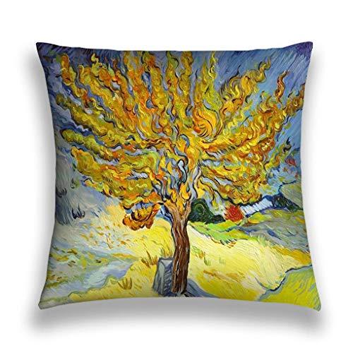 Pamela Hill Funda de Almohada Cuadrada de Doble Cara Cojín Funda de cojín para sofá Sofá Coche Van Gogh Pintura de árbol Copia Famosa 20X20IN