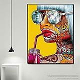Cool Graffiti Girl Poster Modern Lady Portrait Wall Art Graphic Wall decoración del hogar,Pintura sin Marco,60X90cm