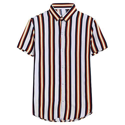 FONMA Mens Fashion Printed Splicing Stripe Shirt Short Sleeve Loose Tops Blouse Gray