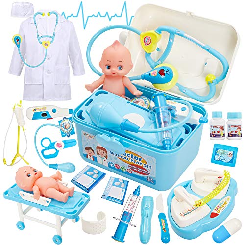 Buyger 2 en 1 Maletin Medicos Botiquin Juguetes Doctora Disfraz Enfermera Accesorios con Luces y Sonidos Juegos de Imitación para Niños Niñas 3 4 5 6 Años (Azul)