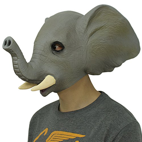 Cusfull Latex Maske Elefant, Deluxe Latex Gummi Vollmaske für Halloween Fasching Party Karneval Kostüm Dekorationen