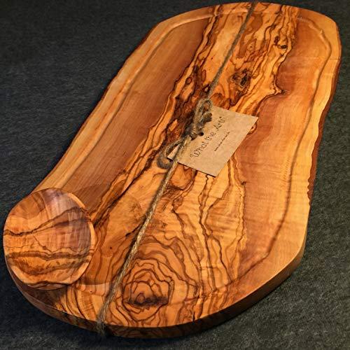 What the Art! Olive Wood Big Rustic - Tabla de cortar de madera de olivo (50-53 x 22-30 x 2 cm), diseño de madera de olivo