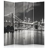 Feeby Frames Biombo Impreso sobre Lona, tabique Decorativo para Habitaciones, a una Cara, de 4 Piezas (145x150 cm), Manhattan, Brooklyn Bridge, Blanco Y Negro