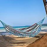 Outsunny Hamaca Doble Portátil de Algodón 300x150 cm con Bolsa de Transporte para Exteriores Patio Jardín Playa Camping Carga 150 kg Multicolor
