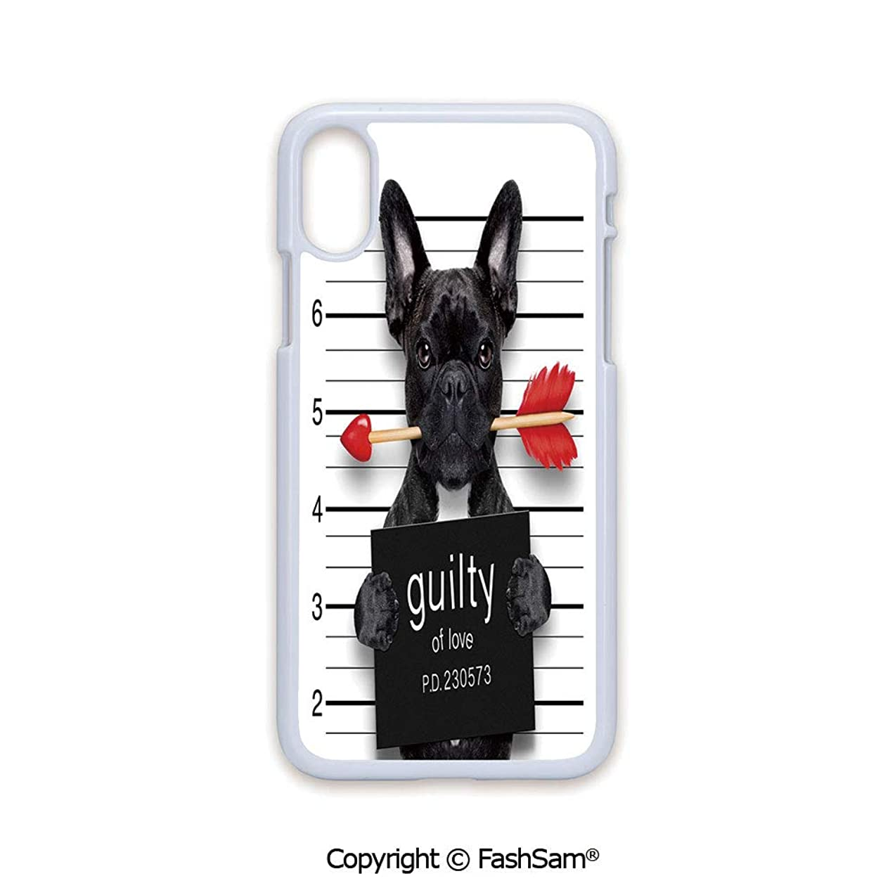 Plastic Rigid Mobile Phone case Compatible with iPhone X Black Edge Valentines Bulldog with Rose in Mouth As Mug Shot Guilty of Love Romance Design Decorative 2D Print Hard Plastic Phone Case