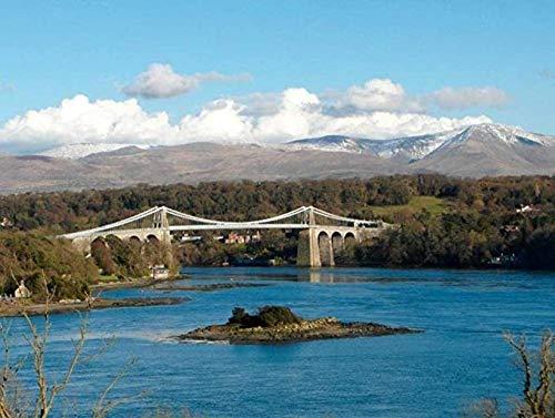 Bzdthh, Rompecabezas de 1000 piezas, juegos para adultos, puente de menai Anglesey Gales, rompecabezas de madera, juegos educativos, juegos de rompecabezas para familia
