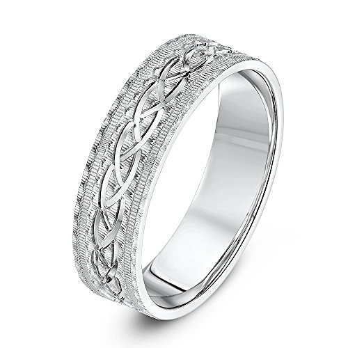 Theia Unisex Sterling Silver Serrated Matt with Center Design 6mm Wedding Ring - Size W