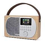 LEMEGA M2P Radio por Internet compacta con Bluetooth, Dab+/FM, Despertador, batería Intercambiable portátil o alimentada por Red, Pantalla a Color, Control por aplicación - Roble Blanco