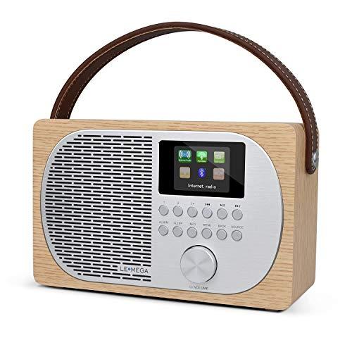 LEMEGA M2P Internet Radio,Radio Digital Dab/Dab+/FM,Bluetooth,Radio Dab portátil,Salida de Auriculares,Reloj con Alarma,Batería Recargable o alimentación de Red,Pantalla en Color -Roble Blanco