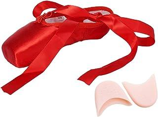 JUODVMP Chaussure de Danse de Pointe Chaussures de Ballet en avec Capuchons d'orteils Protecteurs et Ruban pour Femme Fill...