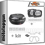 kappa maleta k53n + maletas laterales kgr46pack2 + portaequipaje monokey + portamaletas lateral monokey compatible con honda nc 750 s 2020 20