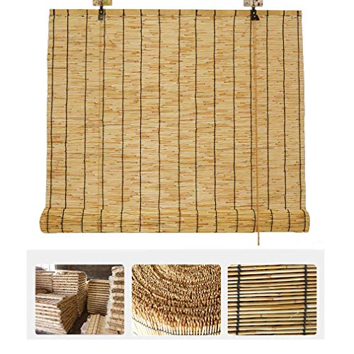 YANJ Natural Reed Curtain,Vintage Decoration Bamboo Roller Blind - Curtains, Bamboo Curtains with Lifter,Waterproof Sun Shade, Shutters for Outdoor/Indoor,Custom Blinds (Size : 90x180cm/36x71)