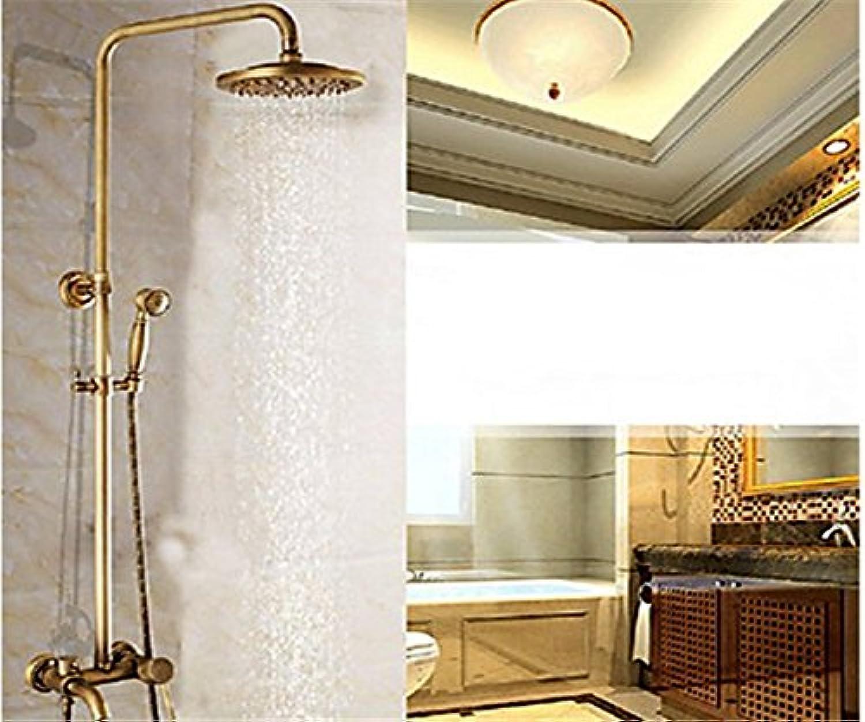 YFF@ILU Home deco Badewanne Zubehr 8 Zoll Vintage Brass in der Wand, in der Dusche mit Kopf- und Handbrause