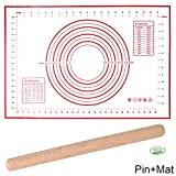 UniHom Silicone Baking Mat and Wooden Rolling Pin Set Non Stick Non Slip Pastry Mat with Measurement (60 x 40 cm) (Red)