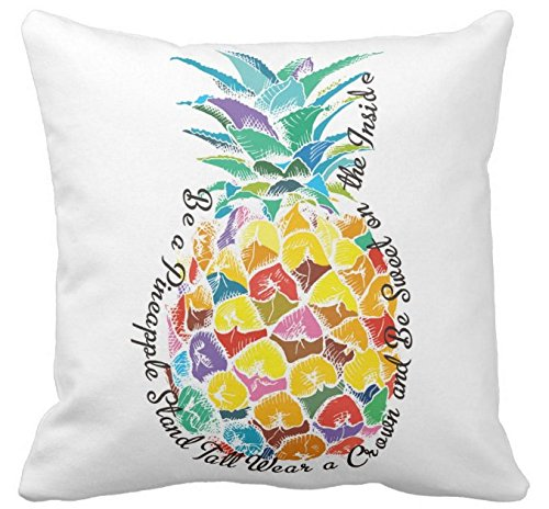 Kissenday 18X18 Inch Be a Pineapple Stand Tall Wear a Crown and Be Sweet on the Inside Quote Cotton Polyester Decorative Home Decor Sofa Couch Desk Chair Bedroom Car Gift Square Throw Pillow Case