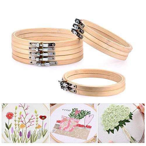 Sodial - 10 aros de madera redondos para bordar, 5 piezas de 10,16 cm y 5 piezas de 15,24 cm con círculo de bambú ajustable