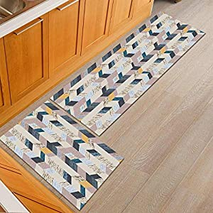 2 Pc Kitchen Rugs Set Non-Slip Kitchen Mats Kitchen carpet set, 2PCS carpet geometry 7MM single thickness, 60 * 90 + 60 * 180cm, non-slip stones kitchen design door matte soft mats bathroom washable m
