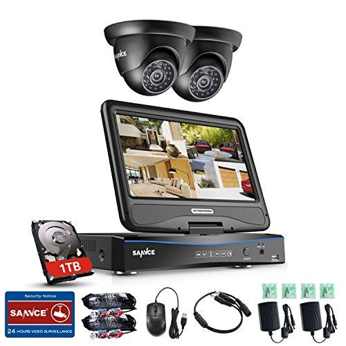 SANNCE Kits de Seguridad 4CH DVR de 10.1 Pulgadas Pantalla Onvif H.264 CCTV + 2 Cámaras Sistema de Vigilancia 1080P con 1TB Disco Duro de Vigilancia IP66 Impermeable, Visión Nocturna - 1T HDD