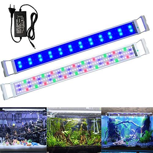 Aufun Aquarium LED Beleuchtung 25W Aquariumbeleuchtung 2 Lichtmodi 180 LEDs Aquariumlampe mit Verstellbarer Halterung aus Alu und Edelstahl für 95-115cm Aquarium, RGB Licht Weiß Blau Rot Grün