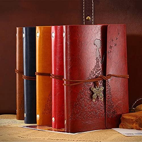 MALAT Viajeros Mariposa Cuaderno Diario Bloc De Notas Literatura Vintage PU A6 Cuaderno De Notas De Cuero Papelería-Rojo, A3
