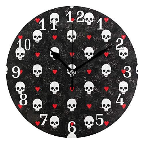 QMIN Wanduhr Totenkopf Liebe Herz Muster Print, runde Uhr geräuschlos, kein Ticken, leise Uhr für Schlafzimmer, Wohnzimmer, Küche, Büro, Home Decor