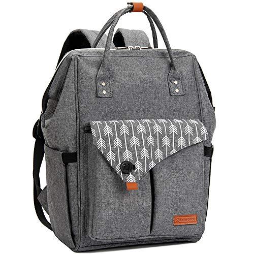 Lekebaby Baby Wickelrucksack Wickeltasche Große Kapazität Babytasche Reisetasche für Unterwegs, Grau