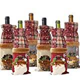 6 Pack Christmas Wine Bottle Bags, Vintage Wine Bottle Gift Covers Snowman Wine Bottle Cover for Christmas Decorations Christmas Sweater Party Decorations (6 Pack)
