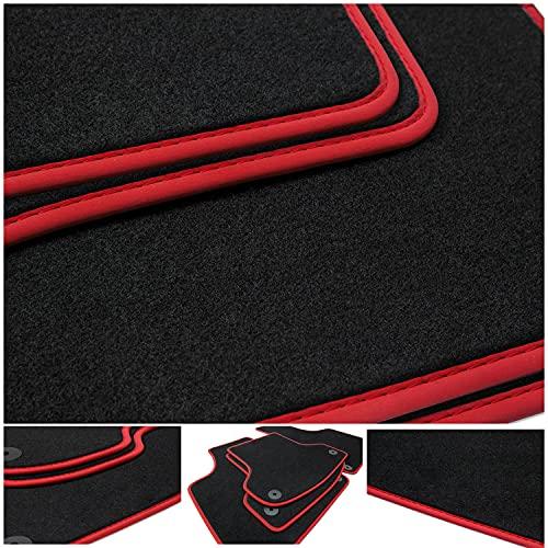 teileplus24 NL-207 Tapis de Sol pour Seat Leon 3 5F 5-Portes Tapis de Voiture Haut de Gamme 4 pièces à surpiqûres en Nubuck, Bordure :Rouge