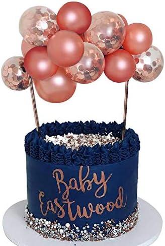 Wocuz Rose Gold Balloon Cloud Cake Topper 10pcs 5 in Rose Gold Confetti Mini Balloon Garland product image