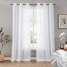 Carvapet Cortinas Visillos Blancas Translucidas de Salon y Dormitorio 2 Piezas, 140 x 175cm