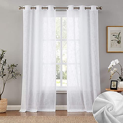 Carvapet Cortinas Visillos Blancas Translucidas de Salon y Dormitorio 2 Piezas, 140...