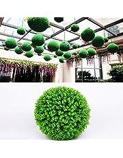 人工植物ユーカリシングルマネーリーフインテリアフラワーアレンジメント結婚式の装飾 人工緑ユーカリ植物ボールツリー結婚式イベントホーム屋外装飾吊り飾り、直径:7.5インチ