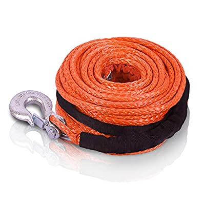 """STEGODON 3/8"""" x 100ft Synthetic Winch Rope 23,809lbs Dyneema Winch Cable Line with Hook and Sleeve Protection Car Tow Recovery Cable for 4WD Off Road Vehicle Jeep SUV Truck(Orange)"""