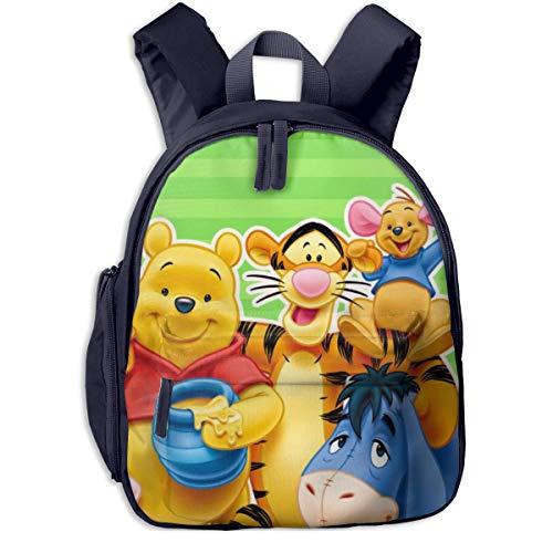 JKSA Anime Winnie The Pooh Kinderrucksäcke Schultaschen für Jungen & Mädchen Vorschultasche Niedlicher Cartoon-Rucksack Größe für Kindergarten, Vorschule