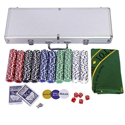 Costway ポーカーセット ポーカーチップ チップ 500枚 無地 各色各100枚 カジノチップ トランプ付き マット付き シルバーケース