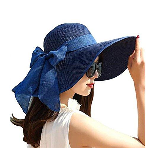 ericotry Damen Strohhut mit großer Schleife, Strandmütze, breiter Schlapphut, faltbar, mit großer Krempe, Sonnenhut, LSF 50+, Party, Garten, Reisen (dunkelblau)