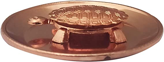 Divya Mantra Feng Shui Pure Copper 2 Inch Tortoise/Turtle with 3.5 Inch Diameter Water Plate; Vastu Living Positivity, Wealth, Money, Good Luck & Longevity; Home, Office Decor Gift Items/Products