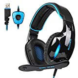 SADES SA902 Gaming Headset Headphone Stereo Sound USB Wired with Mic for PC, Mac,Computer, Noise Cancelling Over Ear Headphones with Soft Memory Earmuffs for PC