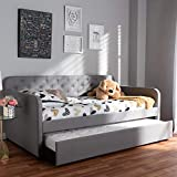 Baxton Studio Camelia Modern and Contemporary Grey Fabric Upholstered Button-Tufted Twin Size Sofa Daybed with Roll-Out Trundle Guest Bed